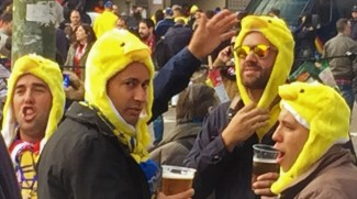 Las Palmas fans get into the party mood.